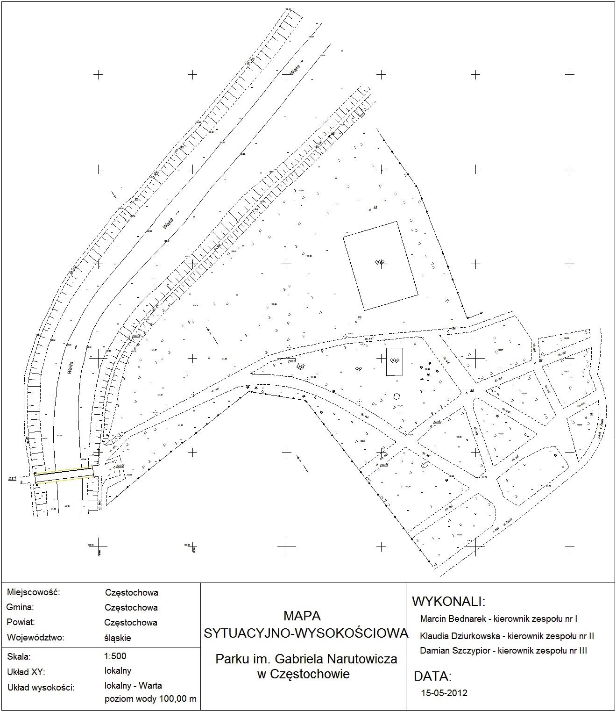 Mapa Sytuacyjno Wysokosciowa Parku Im Gabriela Narutowicza W